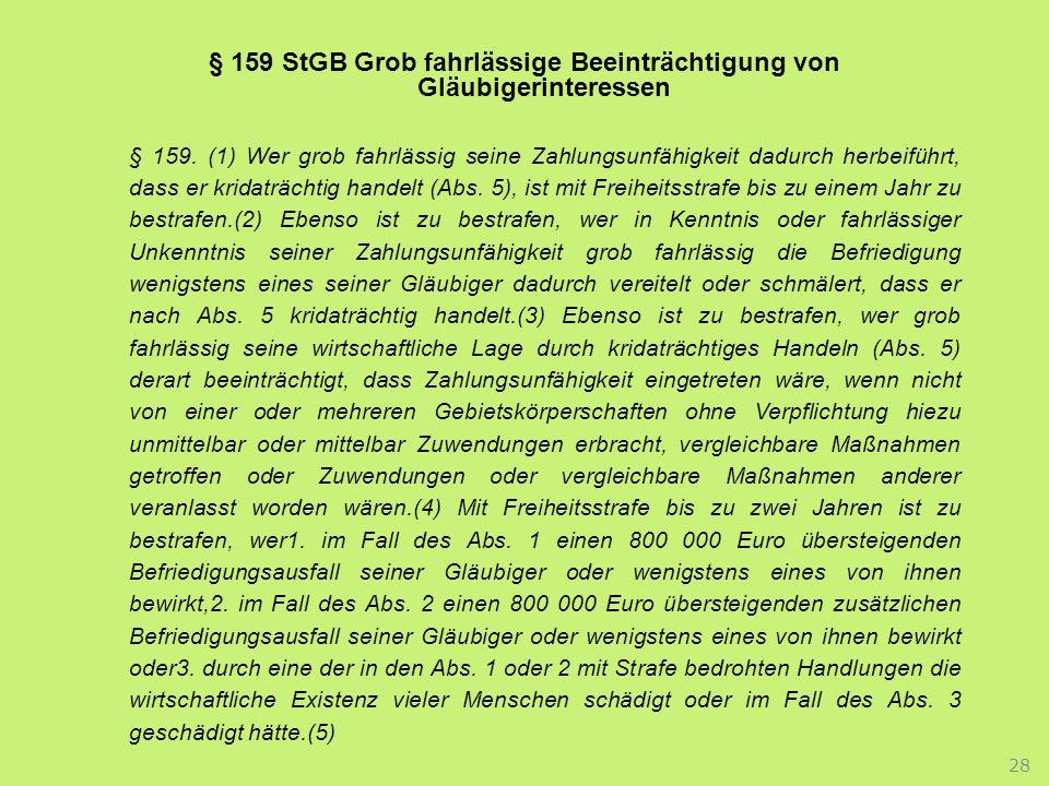 § 159 StGB Grob fahrlässige Beeinträchtigung von Gläubigerinteressen § 159.