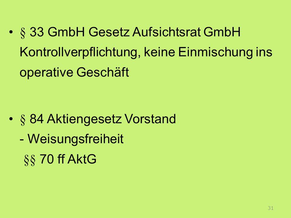 § 33 GmbH Gesetz Aufsichtsrat GmbH Kontrollverpflichtung, keine Einmischung ins operative Geschäft