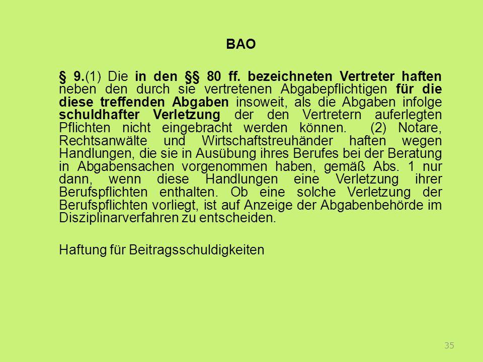 BAO § 9.(1) Die in den §§ 80 ff.