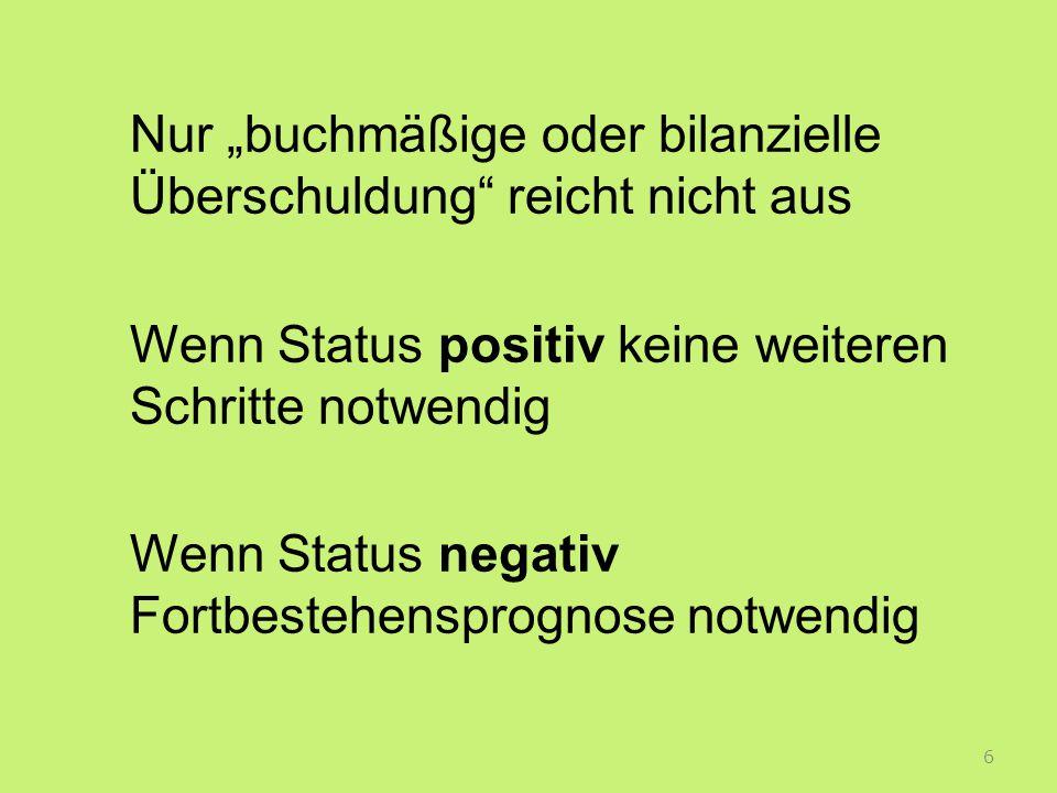 """Nur """"buchmäßige oder bilanzielle Überschuldung reicht nicht aus Wenn Status positiv keine weiteren Schritte notwendig Wenn Status negativ Fortbestehensprognose notwendig"""