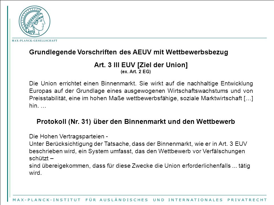 Grundlegende Vorschriften des AEUV mit Wettbewerbsbezug