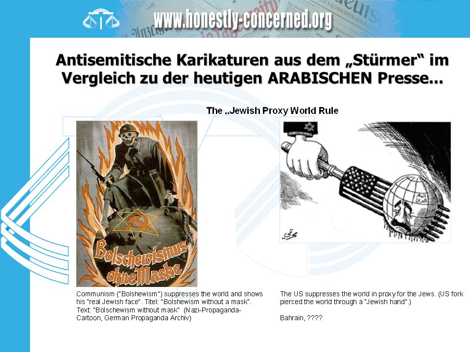 """Antisemitische Karikaturen aus dem """"Stürmer im Vergleich zu der heutigen ARABISCHEN Presse..."""