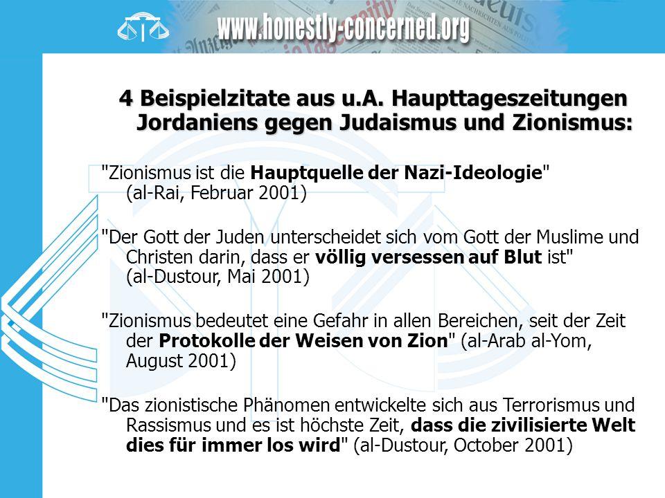 4 Beispielzitate aus u.A. Haupttageszeitungen Jordaniens gegen Judaismus und Zionismus: