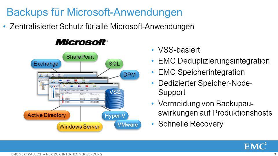 Backups für Microsoft-Anwendungen