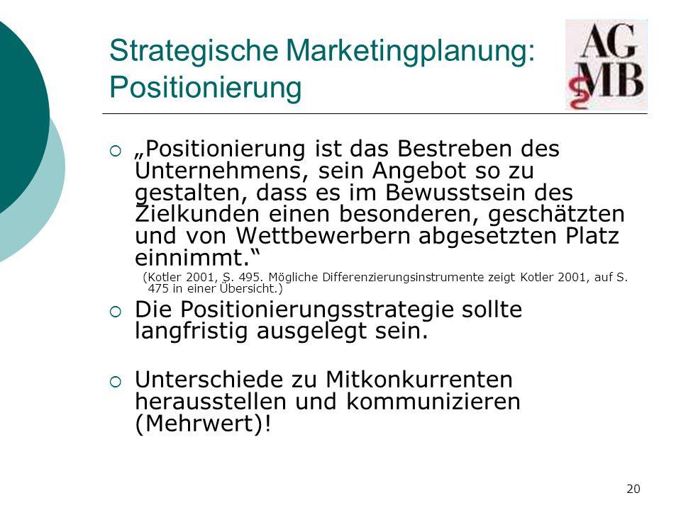 Strategische Marketingplanung: Positionierung