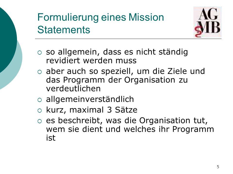 Formulierung eines Mission Statements