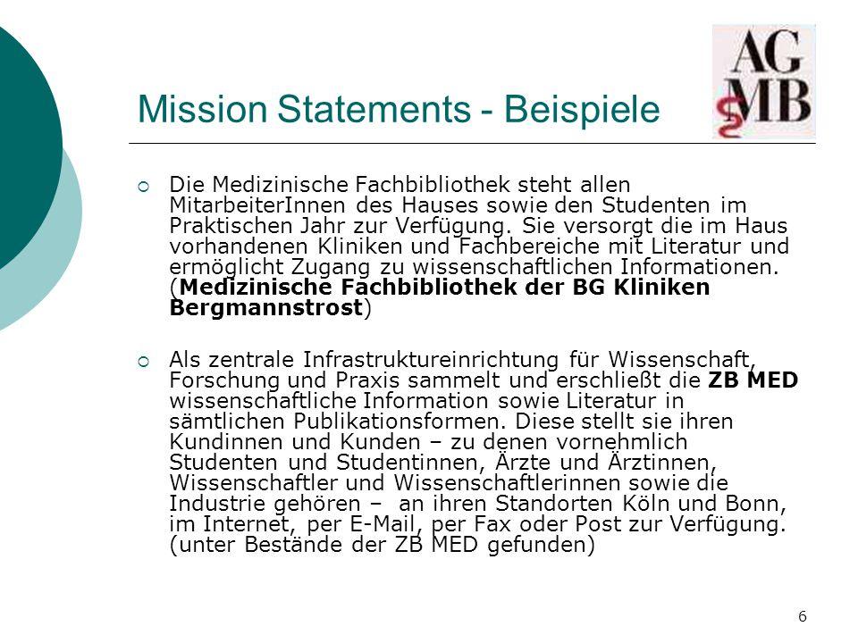 Mission Statements - Beispiele