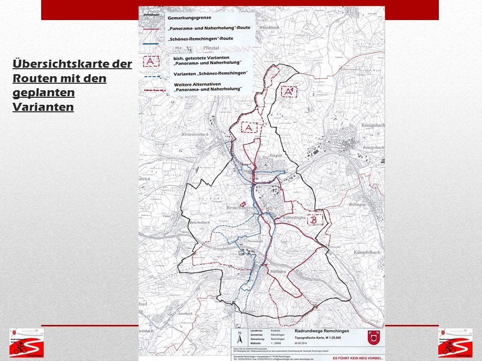 Übersichtskarte der Routen mit den geplanten Varianten