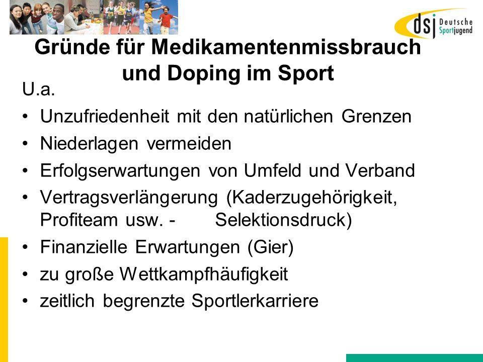 Gründe für Medikamentenmissbrauch und Doping im Sport
