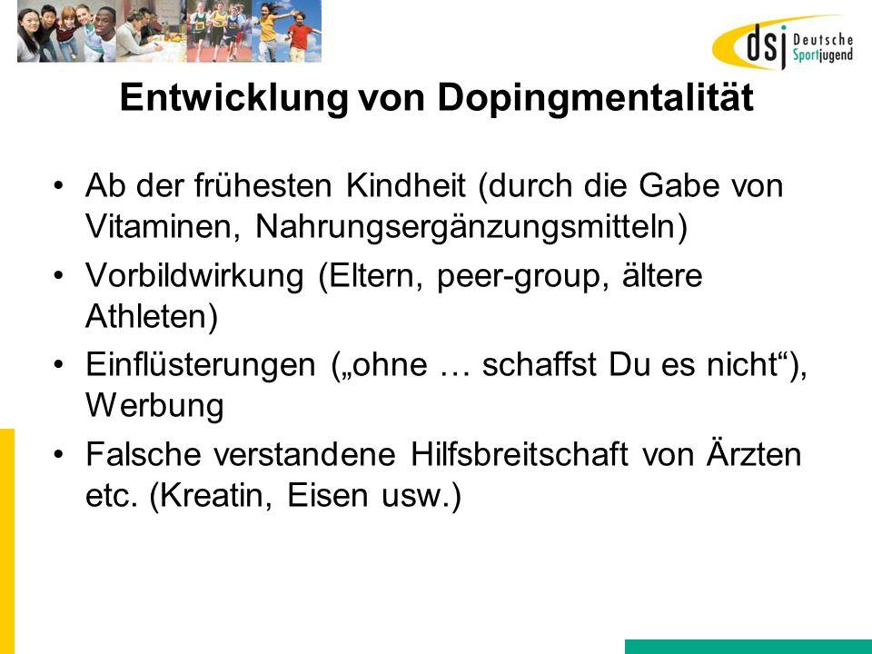 Entwicklung von Dopingmentalität