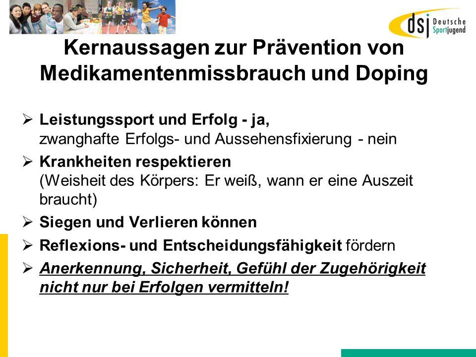 Kernaussagen zur Prävention von Medikamentenmissbrauch und Doping