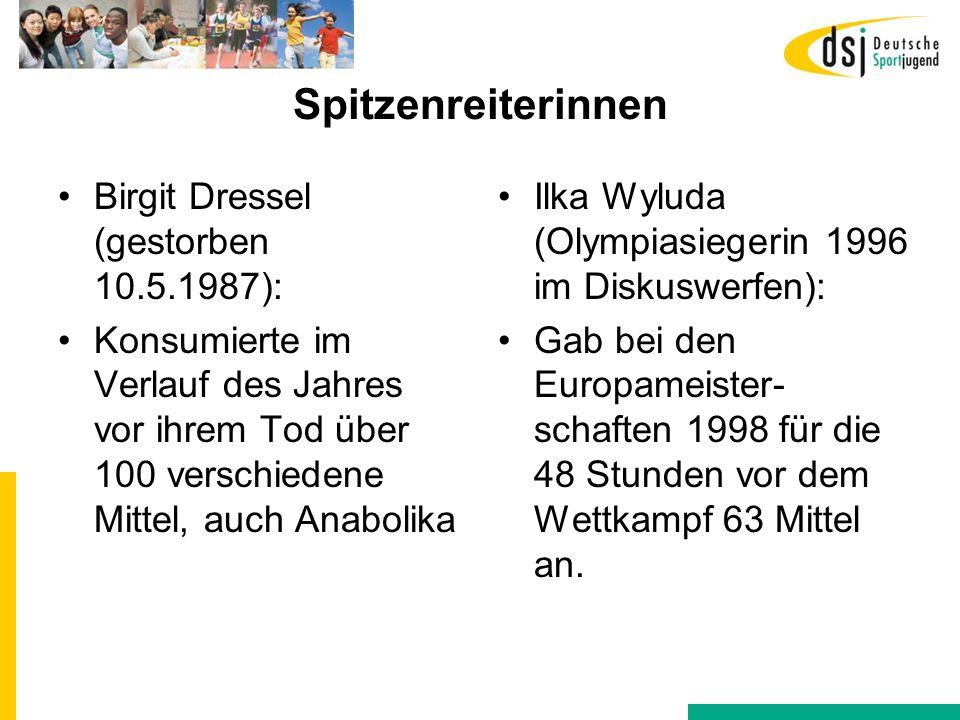 Spitzenreiterinnen Birgit Dressel (gestorben 10.5.1987):