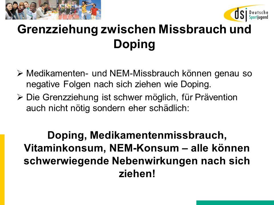 Grenzziehung zwischen Missbrauch und Doping