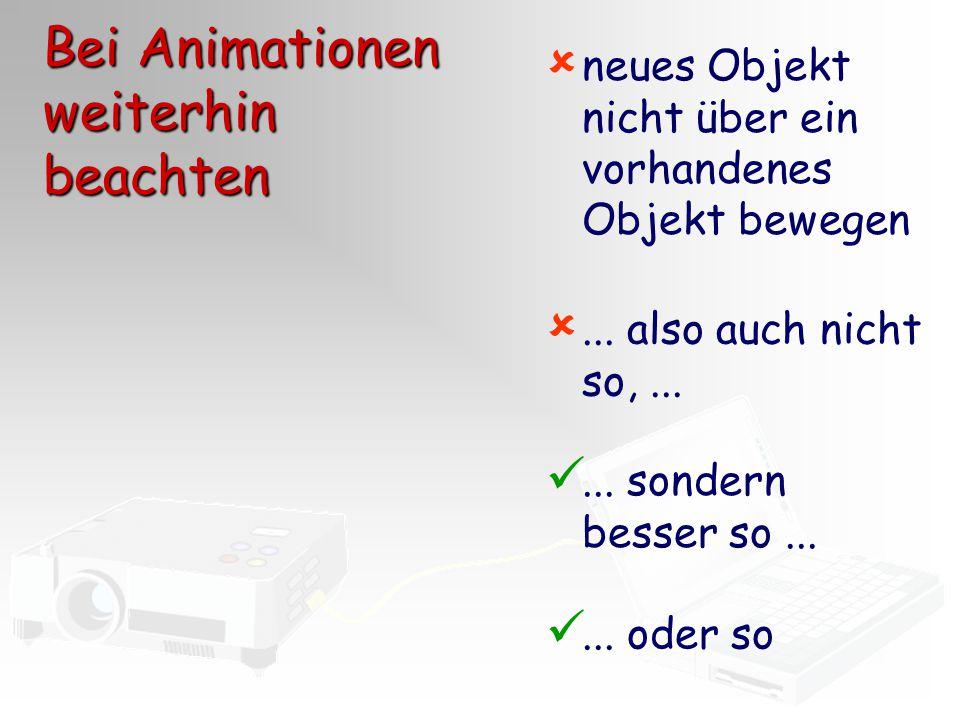 Bei Animationen weiterhin beachten