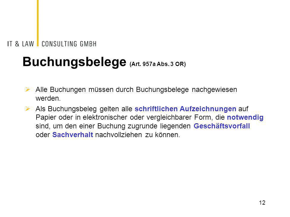 Buchungsbelege (Art. 957a Abs. 3 OR)