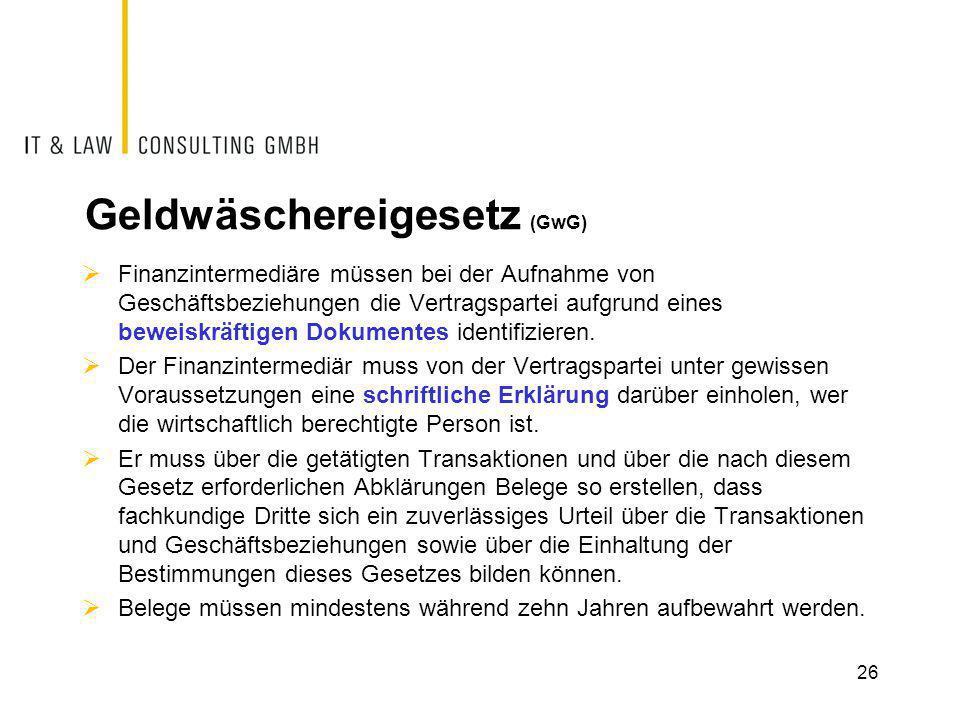 Geldwäschereigesetz (GwG)