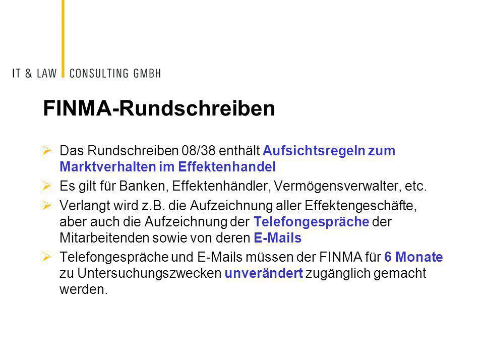 FINMA-Rundschreiben Das Rundschreiben 08/38 enthält Aufsichtsregeln zum Marktverhalten im Effektenhandel.