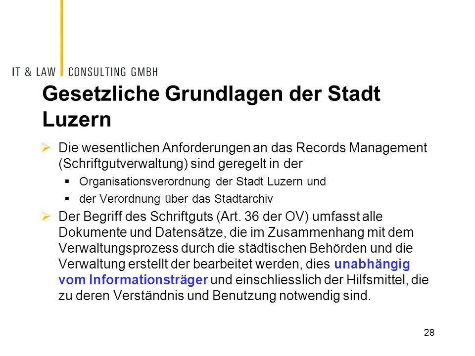 Gesetzliche Grundlagen der Stadt Luzern