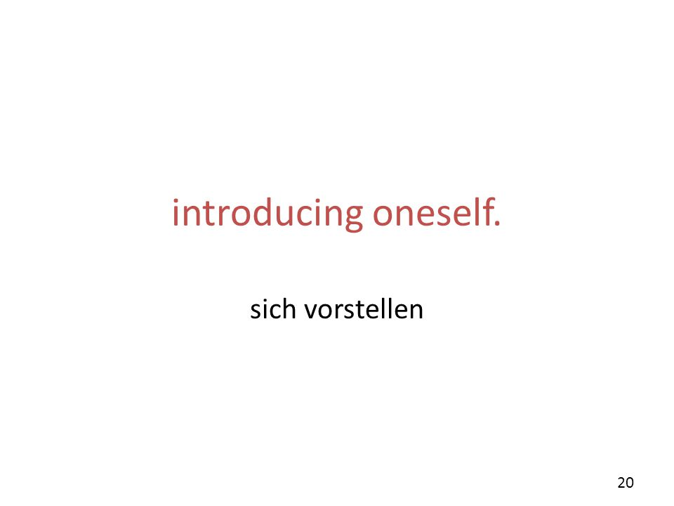 introducing oneself. sich vorstellen