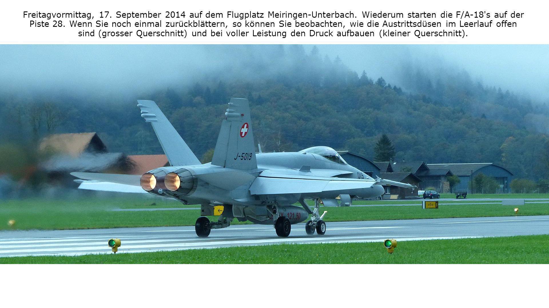 Freitagvormittag, 17. September 2014 auf dem Flugplatz Meiringen-Unterbach. Wiederum starten die F/A-18 s auf der