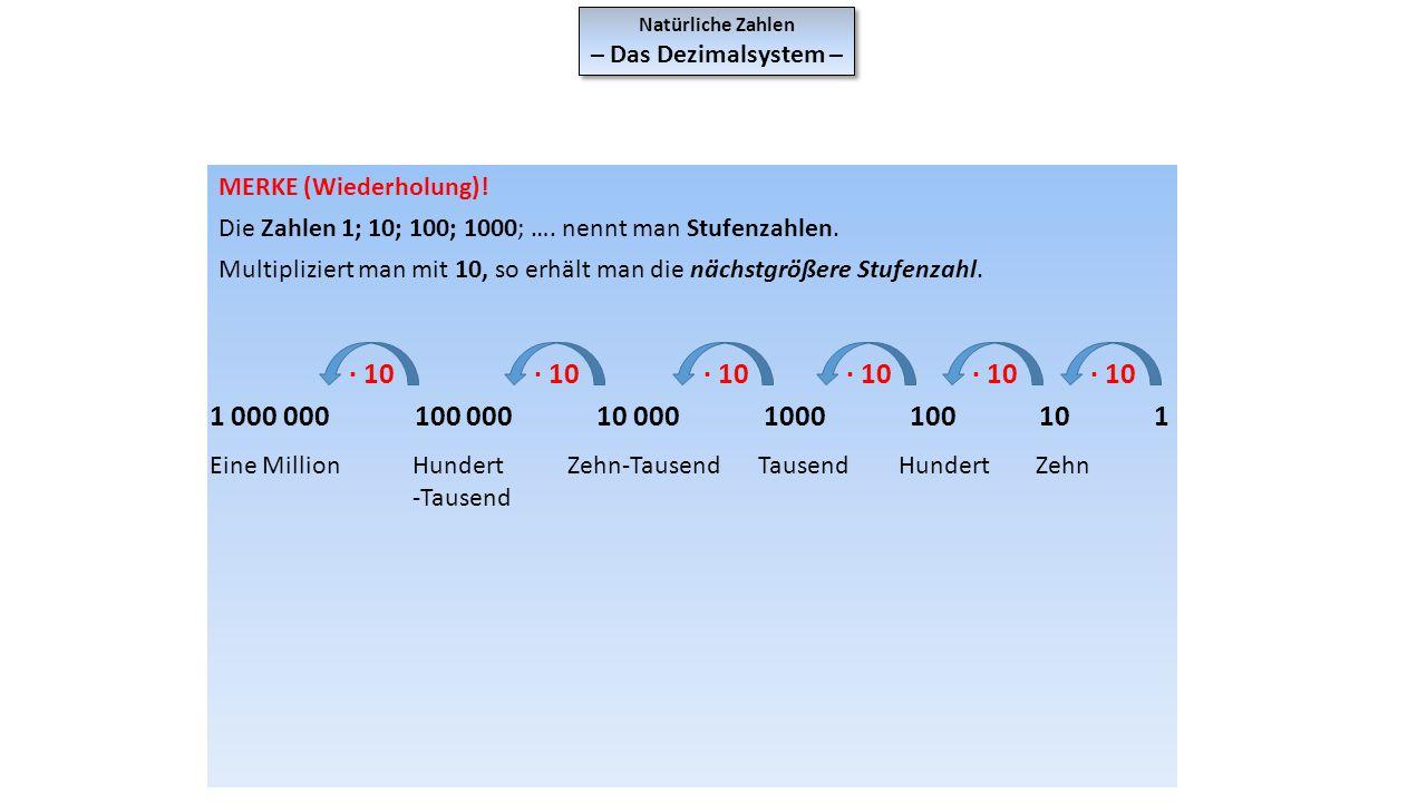 Natürliche Zahlen – Das Dezimalsystem – MERKE (Wiederholung)! Die Zahlen 1; 10; 100; 1000; …. nennt man Stufenzahlen.