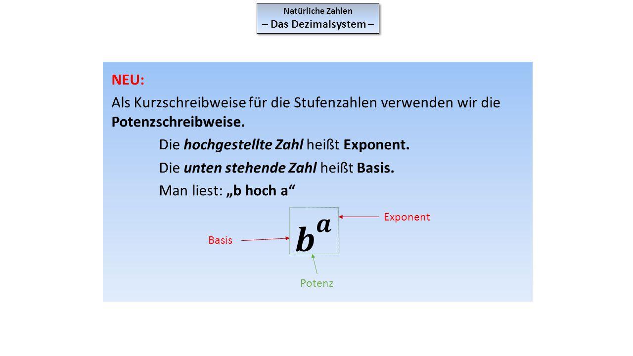 Natürliche Zahlen – Das Dezimalsystem – NEU: Als Kurzschreibweise für die Stufenzahlen verwenden wir die Potenzschreibweise.