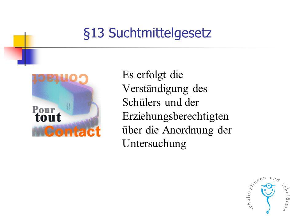§13 Suchtmittelgesetz Es erfolgt die Verständigung des Schülers und der Erziehungsberechtigten über die Anordnung der Untersuchung.