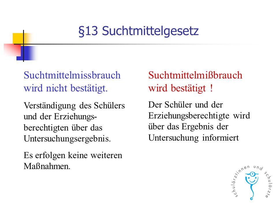 §13 Suchtmittelgesetz Suchtmittelmissbrauch wird nicht bestätigt.