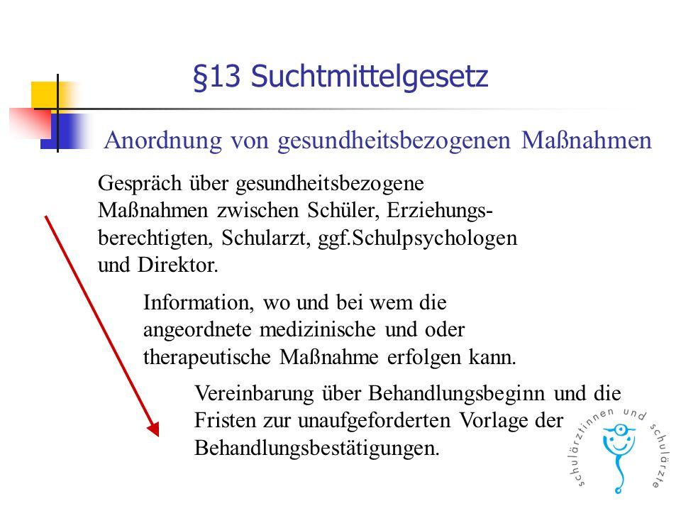 §13 Suchtmittelgesetz Anordnung von gesundheitsbezogenen Maßnahmen