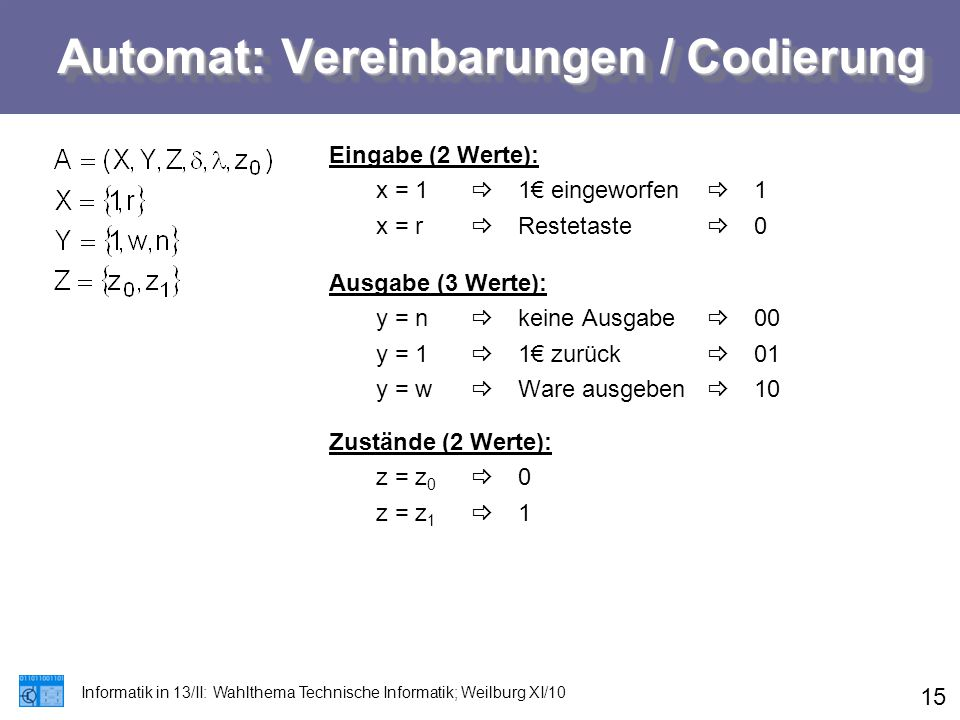 Automat: Vereinbarungen / Codierung