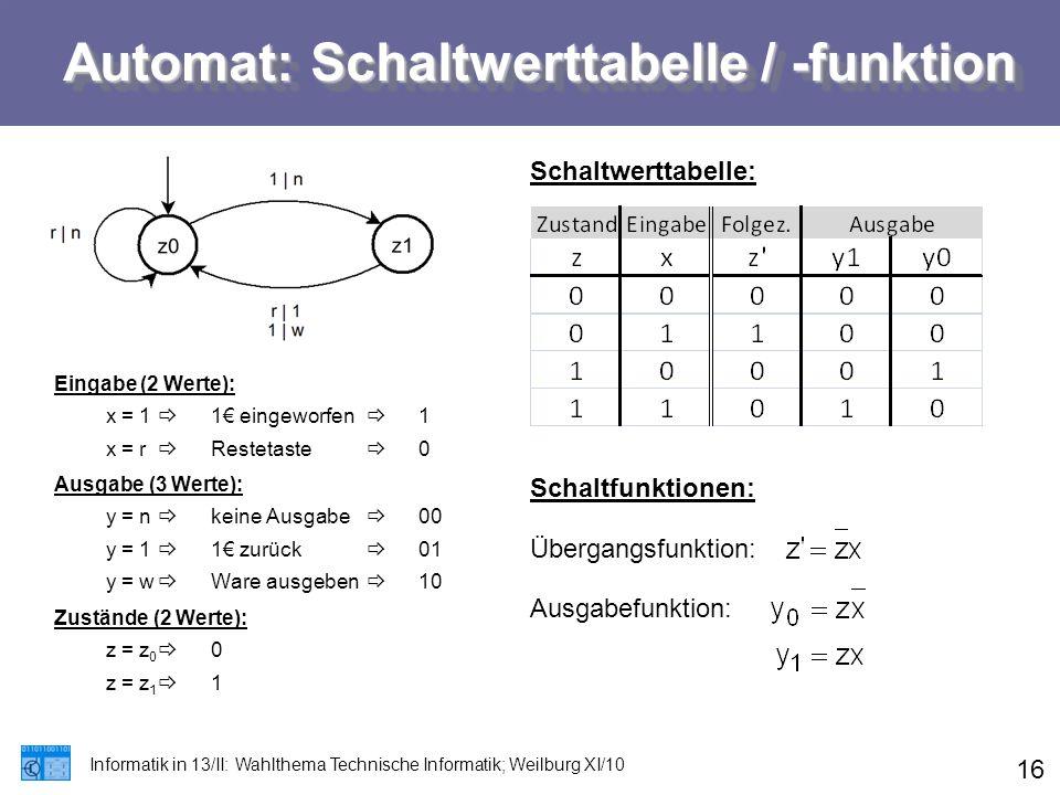 Automat: Schaltwerttabelle / -funktion