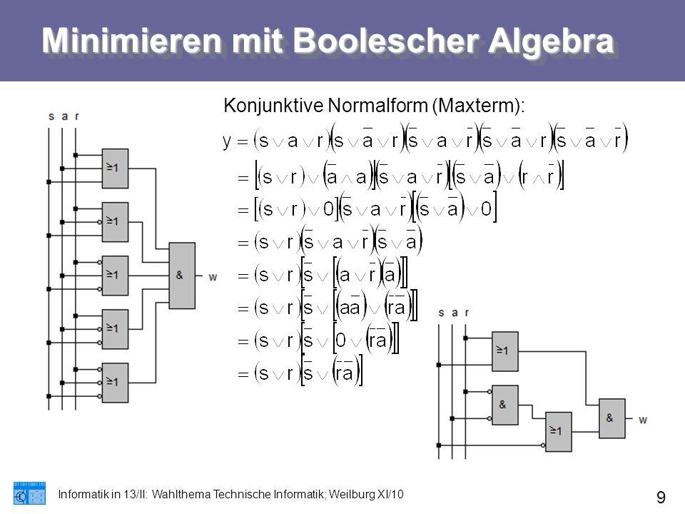 Minimieren mit Boolescher Algebra