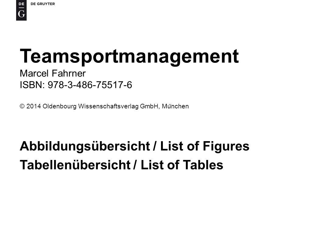 Teamsportmanagement Abbildungsübersicht / List of Figures