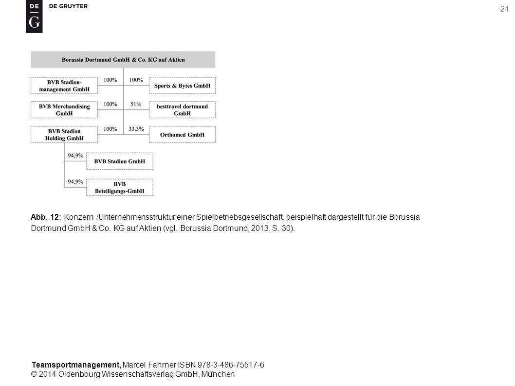 Abb. 12: Konzern-/Unternehmensstruktur einer Spielbetriebsgesellschaft, beispielhaft dargestellt für die Borussia