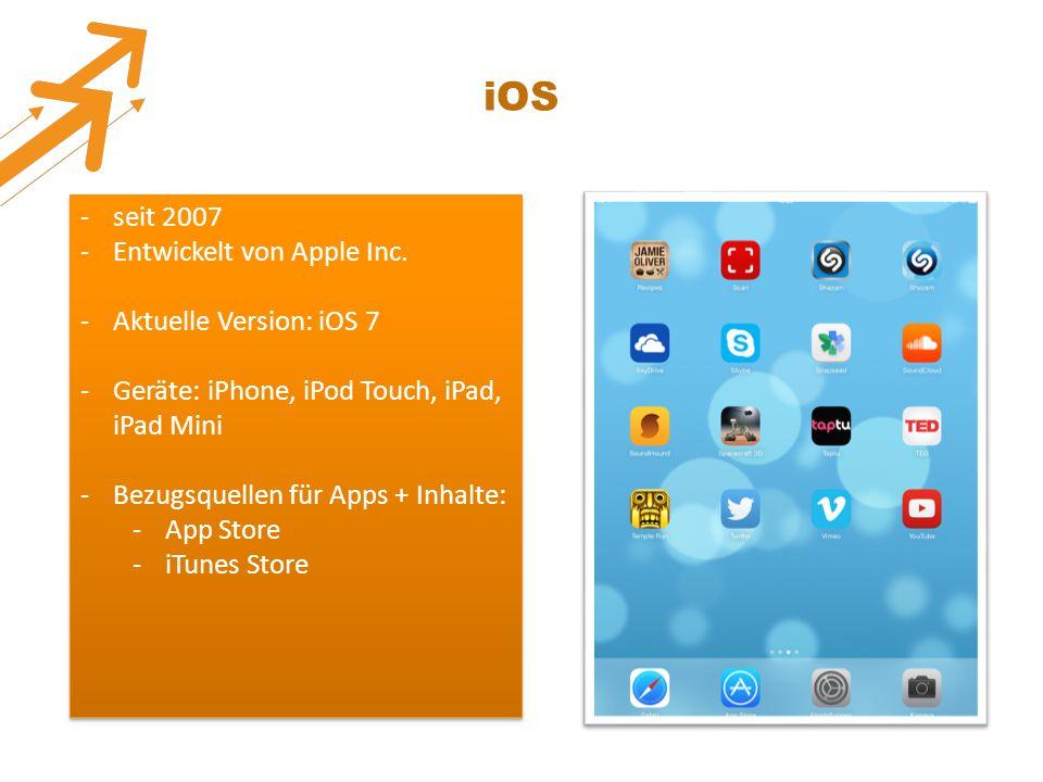 iOS seit 2007 Entwickelt von Apple Inc. Aktuelle Version: iOS 7