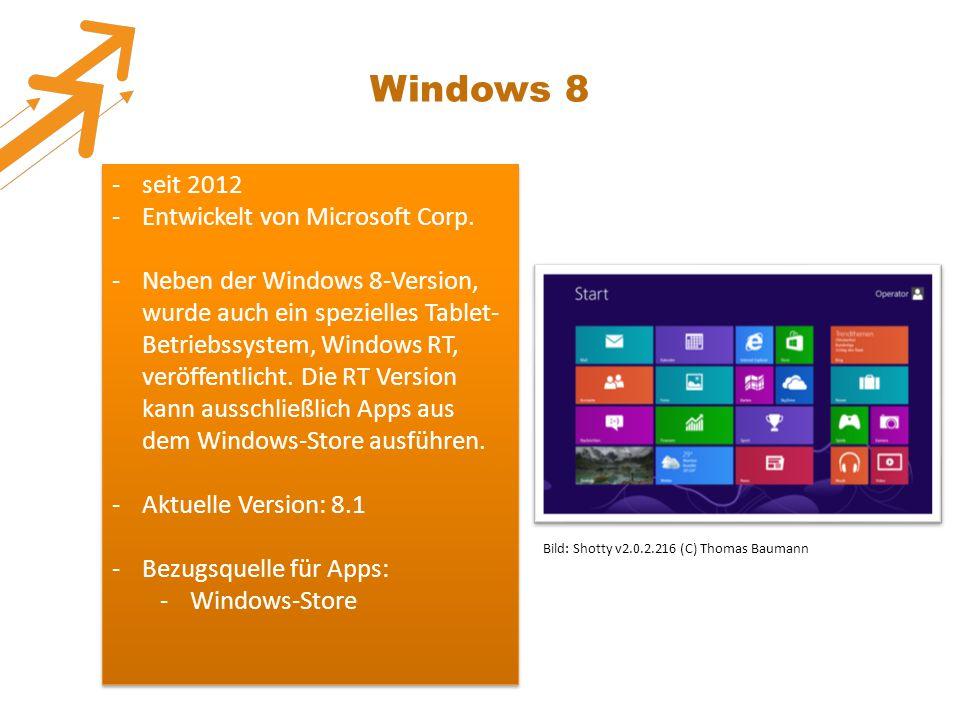 Windows 8 seit 2012 Entwickelt von Microsoft Corp.