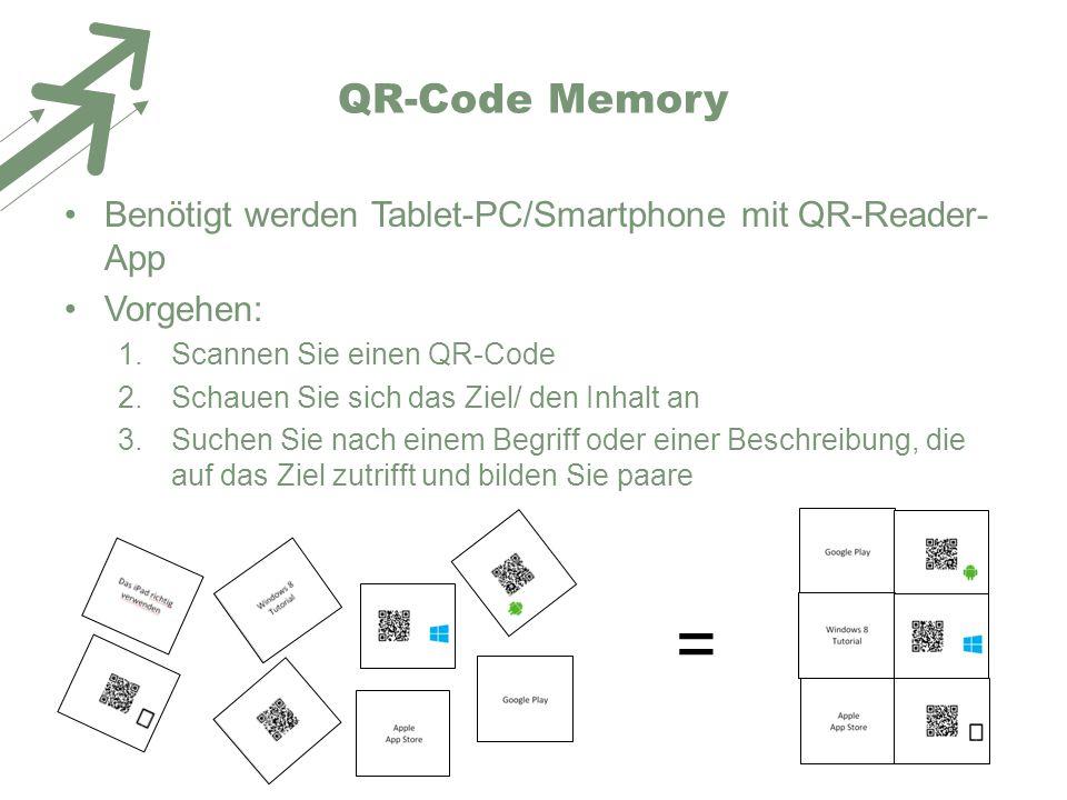 QR-Code Memory Benötigt werden Tablet-PC/Smartphone mit QR-Reader-App. Vorgehen: Scannen Sie einen QR-Code.