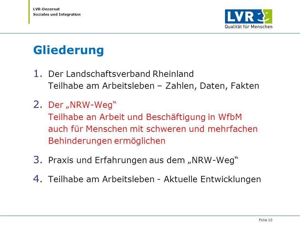 Gliederung Der Landschaftsverband Rheinland Teilhabe am Arbeitsleben – Zahlen, Daten, Fakten.
