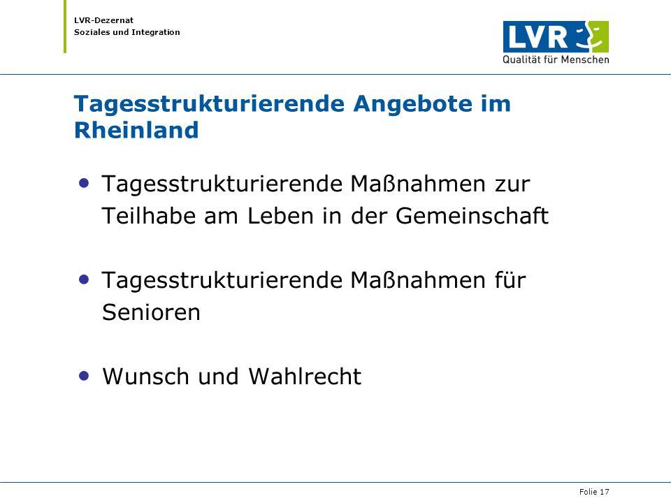 Tagesstrukturierende Angebote im Rheinland