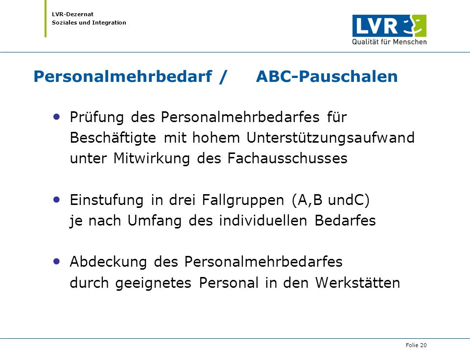 Personalmehrbedarf / ABC-Pauschalen
