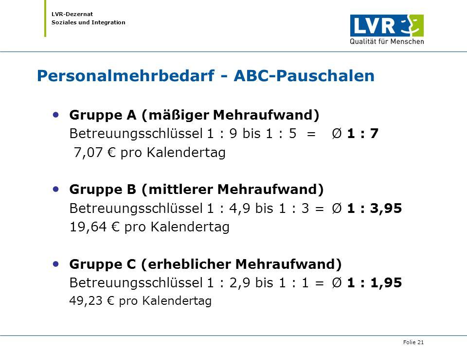 Personalmehrbedarf - ABC-Pauschalen