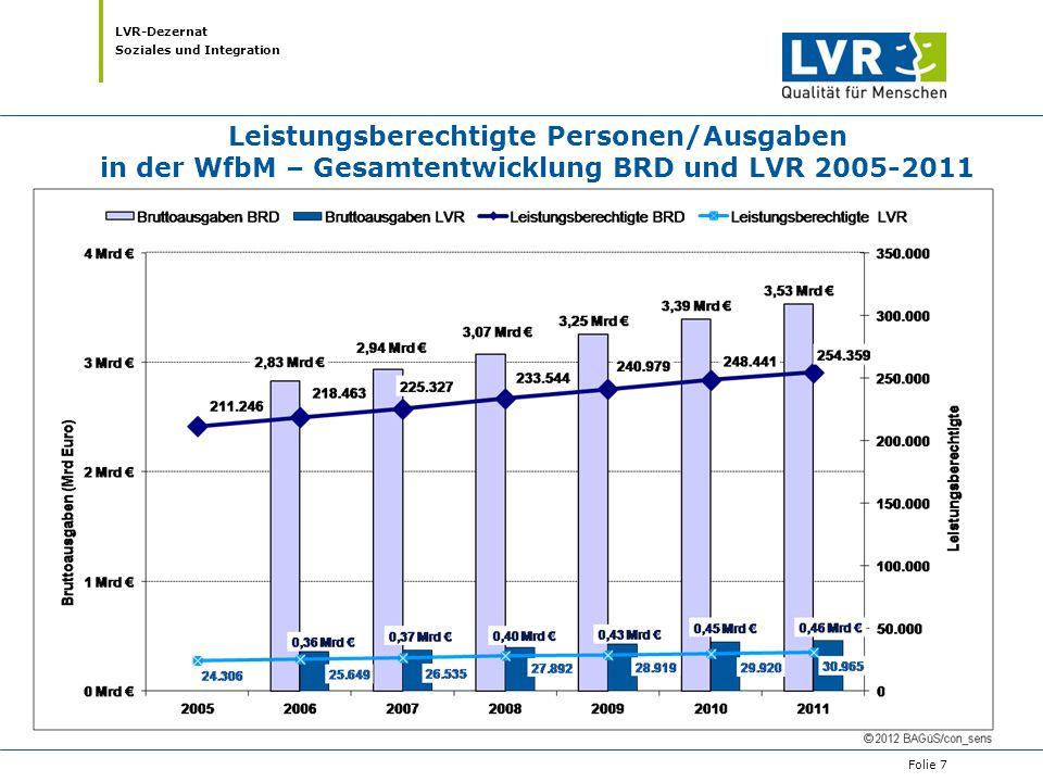 Leistungsberechtigte Personen/Ausgaben in der WfbM – Gesamtentwicklung BRD und LVR 2005-2011