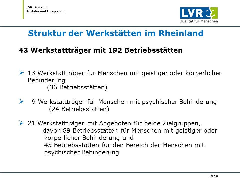 Struktur der Werkstätten im Rheinland