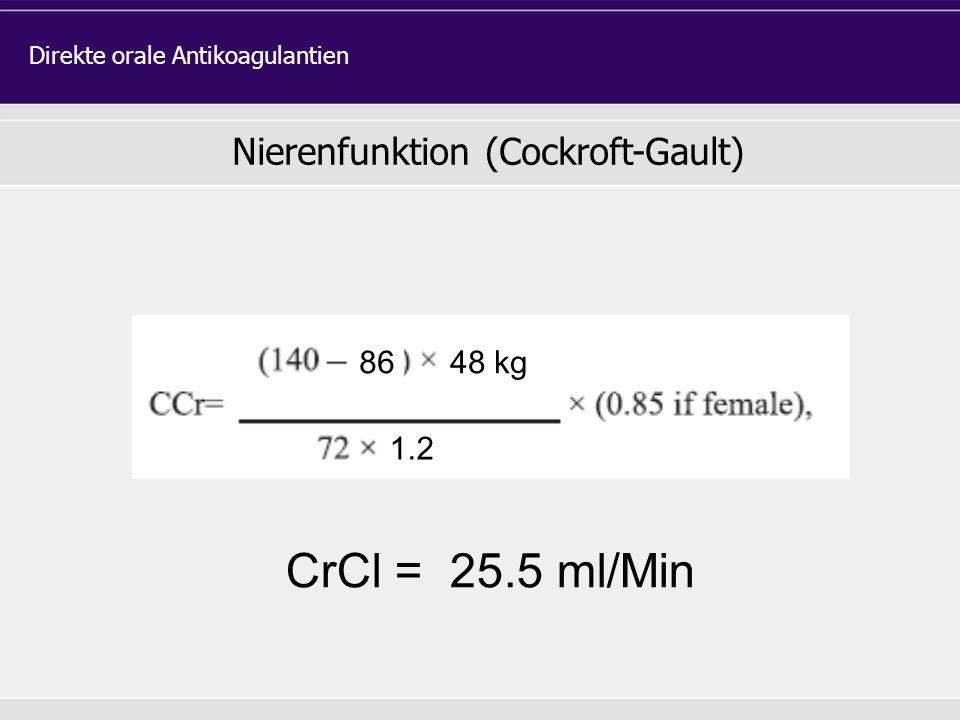 Nierenfunktion (Cockroft-Gault)