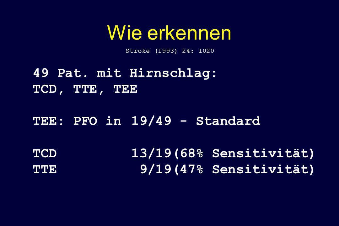 Wie erkennen 49 Pat. mit Hirnschlag: TCD, TTE, TEE