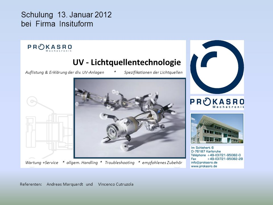 Schulung 13. Januar 2012 bei Firma Insituform