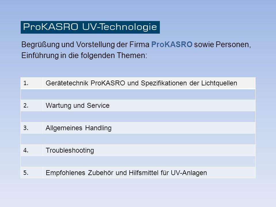 Begrüßung und Vorstellung der Firma ProKASRO sowie Personen,