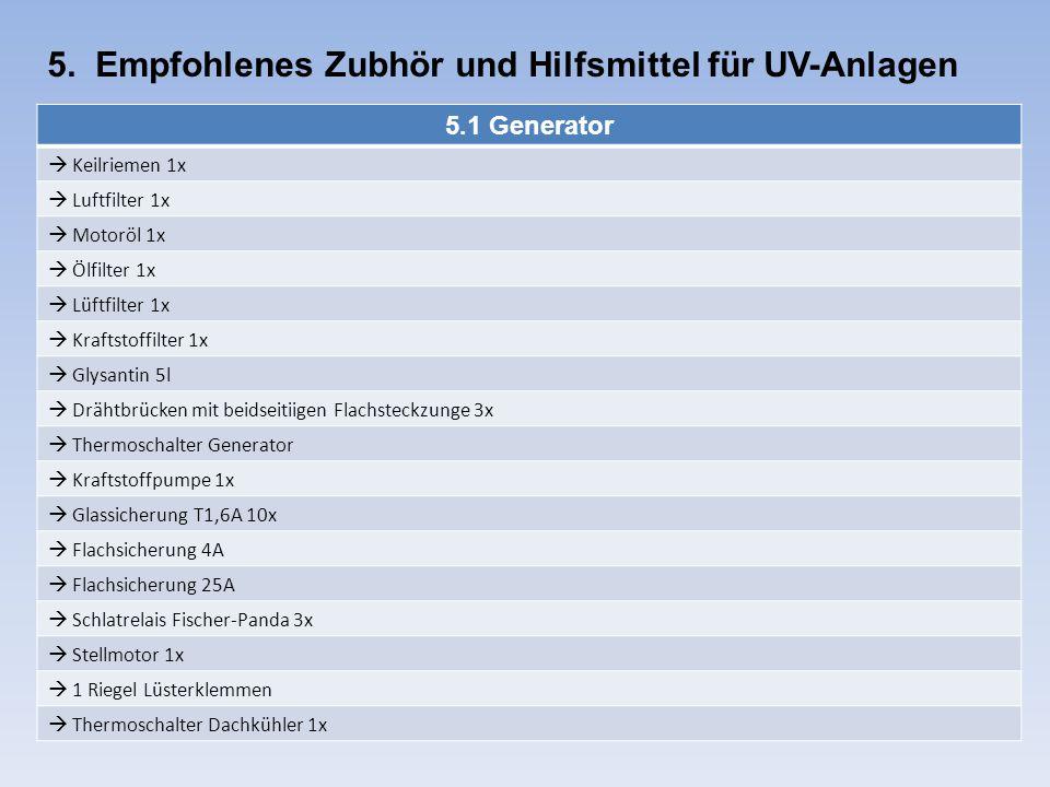 5. Empfohlenes Zubhör und Hilfsmittel für UV-Anlagen