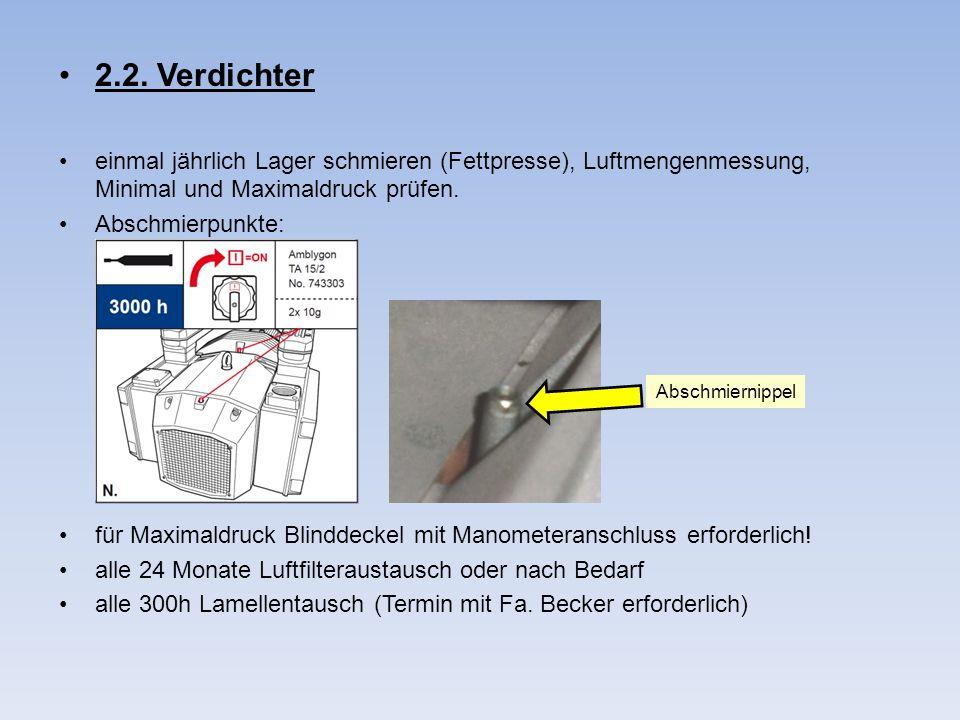 2.2. Verdichter einmal jährlich Lager schmieren (Fettpresse), Luftmengenmessung, Minimal und Maximaldruck prüfen.