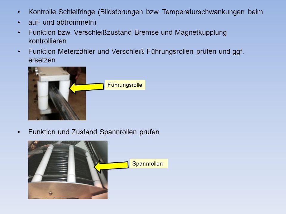 Kontrolle Schleifringe (Bildstörungen bzw. Temperaturschwankungen beim